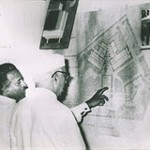 Rahman explaining Rabindra Bhavan plans to Nehru, May 1961